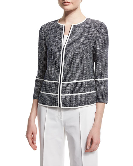 Lafayette 148 New York Aisha 3/4-Sleeve Zip-Front Tweed Jacket
