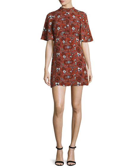 A.L.C. Spencer Short-Sleeve Floral Silk Mini Dress, Henna/Black/White