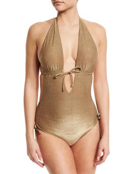 Vitamin A Brena Metallic Plunge-Neck One-Piece Swimsuit