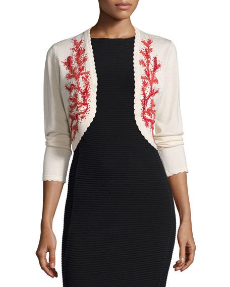 Carolina Herrera Long-Sleeve Embroidered Bolero, Ivory