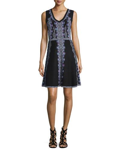 Sleeveless V-Neck Printed Fit & Flare Dress