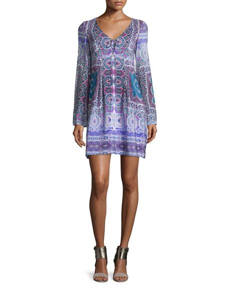 Nanette Lepore Long-Sleeve Paisley Silk Scarf Dress,