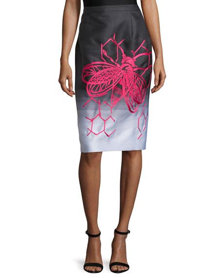 Carolina Herrera Bee-&-Honeycomb Print Degrade Pencil Skirt,