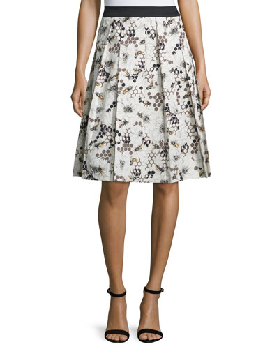 Carolina Herrera Bee-&-Honeycomb Print A-Line Skirt, Caramel/Multi
