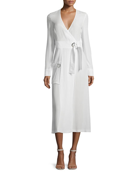 A.L.C. Ray Long-Sleeve Crepe Wrap Dress, White