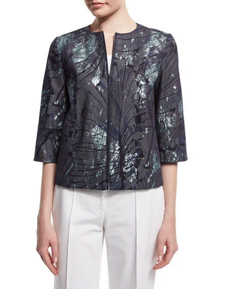 Lafayette 148 New York Athea Tropical-Print Jacket