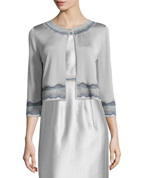 Lafayette 148 New York Embroidered 3/4-Sleeve Shrug