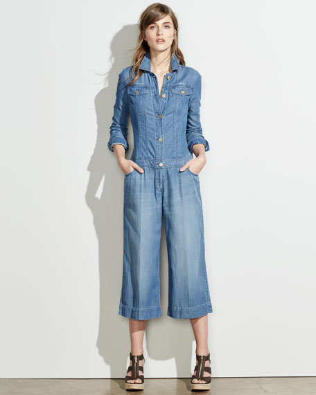 MICHAEL Michael Kors Wide-Leg Cropped Denim Jumpsuit, Veruschka Wash