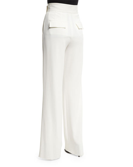 A.L.C. Madeline Belted Crepe Wide-Leg Pants, White