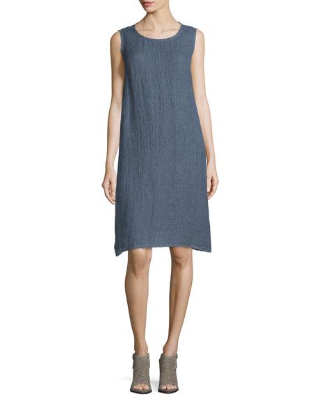 Lafayette 148 New York Palmer Sleeveless Linen Dress with Fringe Trim