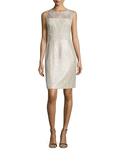 Kay Unger New YorkSleeveless Embroidered Shimmery Sheath Cocktail