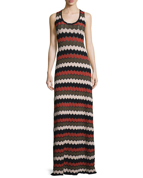 A.L.C. Miles Sleeveless Zigzag Maxi Dress, Army/Primrose/Black