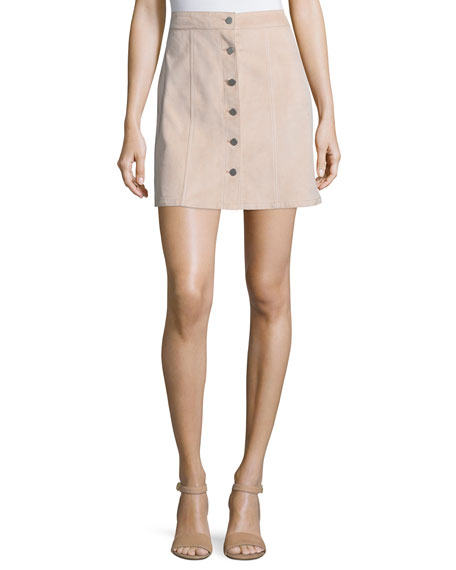 Theory Sinall L Benna Suede Button-Front Skirt