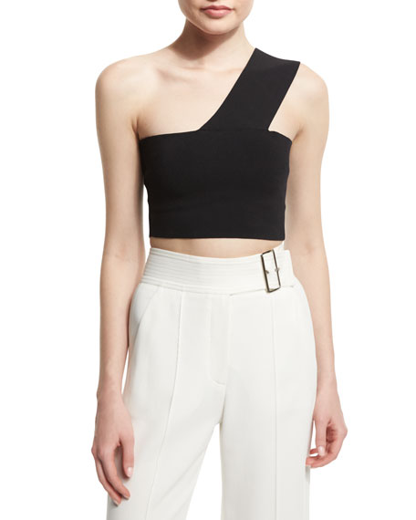 03160b223b6 A.L.C. Georgia One-Shoulder Crop Top, Black | Neiman Marcus