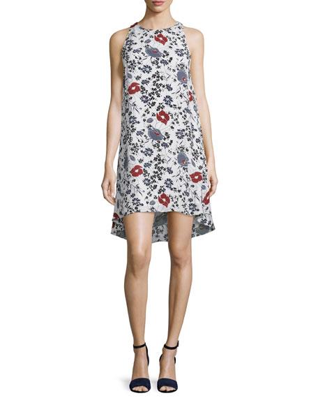 Theory Adlerdale Marigold Floral-Print Silk Dress