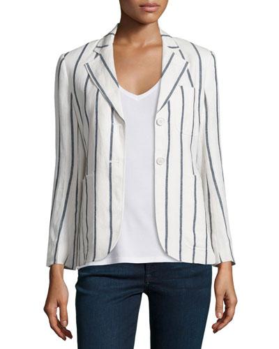 Brightdale Wide-Stripe Wool Blazer, White/Blue