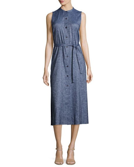 Theory Centha Tierra Wash Midi Dress, Deep Denim