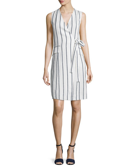 Theory Livwilth Wide-Stripe Linen Wrap-Style Dress, White/Blue