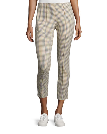 Theory Alettah Ainsley Check Cropped Pants