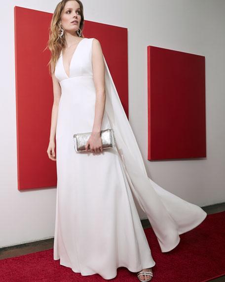 Sleeveless V-Neck Cape Gown
