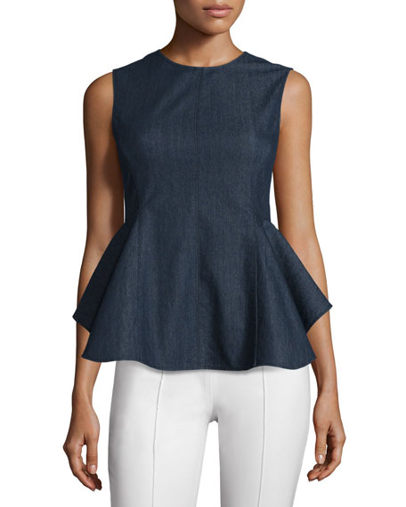 Theory Kalsing D Spring Peplum Top, Dark Denim