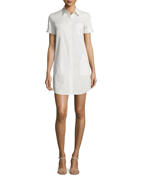 Theory Mayvine Light Poplin Shirtdress, Classic Khaki