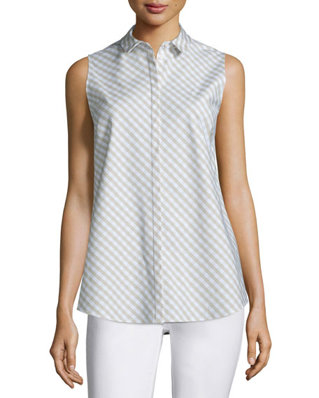 Lafayette 148 New YorkNadi Sleeveless Check-Print Blouse,