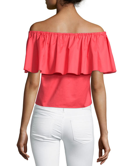 Off-The-Shoulder Ruffle Top, Poppy Red