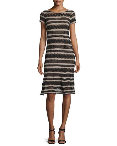 Nanette Lepore Short-Sleeve Chevron-Striped Dress, Black/Camel