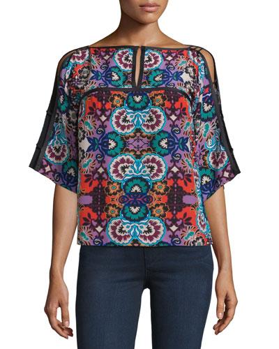 Half-Sleeve Floral-Print Top, Red/Multi
