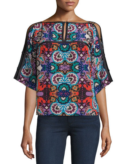 Nanette Lepore Silk Half-Sleeve Floral-Print Top, Red/Multi
