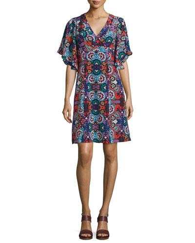 Flutter-Sleeve Floral-Print Dress, Red/Multi