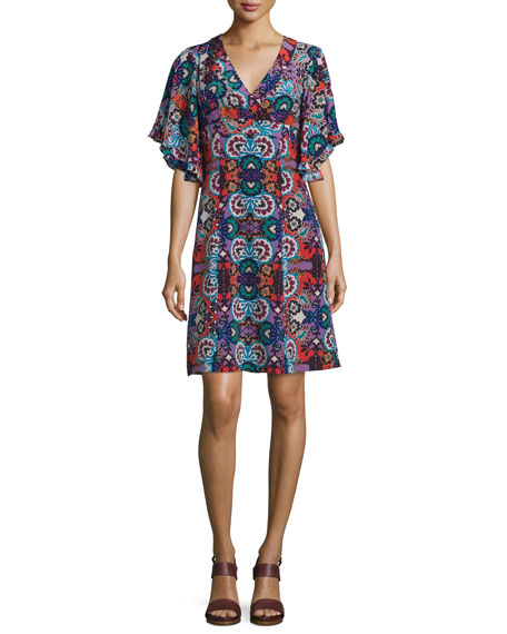 Nanette Lepore Flutter-Sleeve Floral-Print Silk Dress, Red/Multi