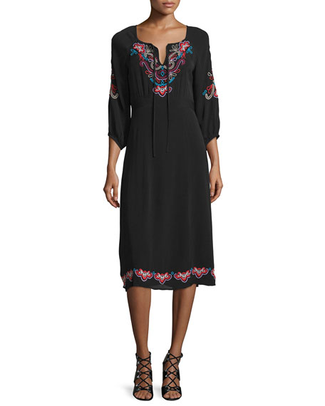 Nanette Lepore 3/4-Sleeve Midi Dress with Embroidery