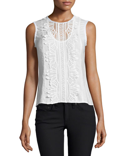 Sleeveless Lace-Appliqué Top, White