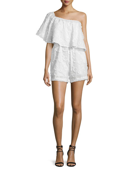 One-Shoulder Spot Fringe Romper, White