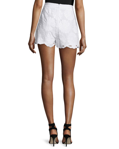 High-Waist Sunflower-Lace Shorts, White