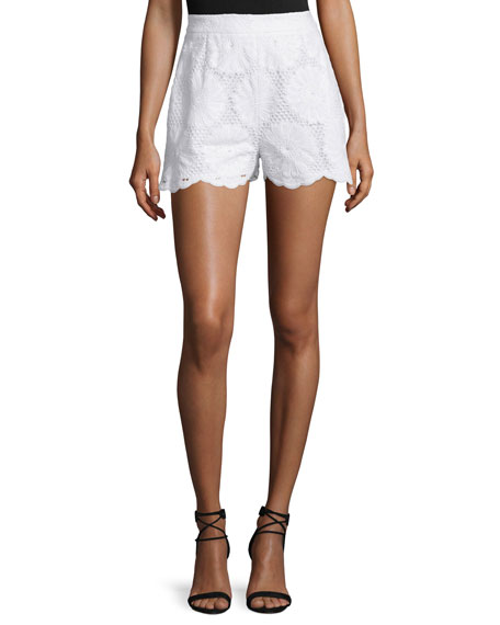 NICHOLAS High-Waist Sunflower-Lace Shorts, White