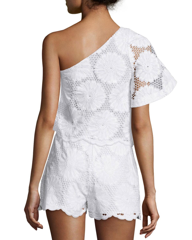 49c1d3b704dd NICHOLAS One-Shoulder Sunflower-Lace Crop Top, White | Neiman Marcus