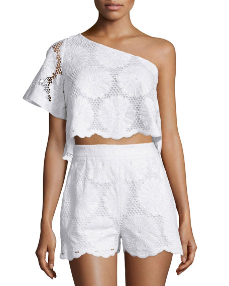 NICHOLAS One-Shoulder Sunflower-Lace Crop Top, White