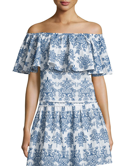 NICHOLAS Off-The-Shoulder Embroidered Top, Blue/White