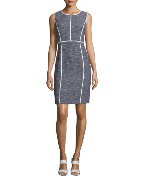 Mariana Sleeveless Tweed Sheath Dress