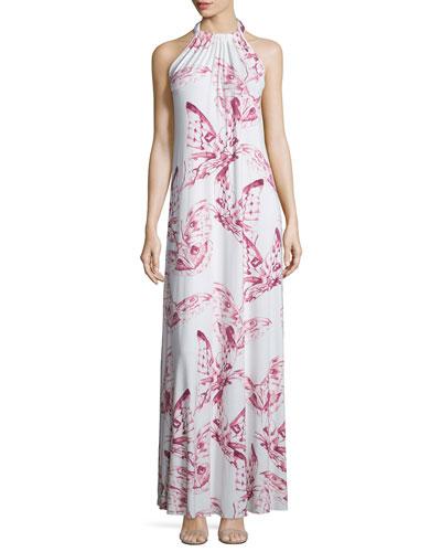 Renee Halter Butterfly-Print Long Dress