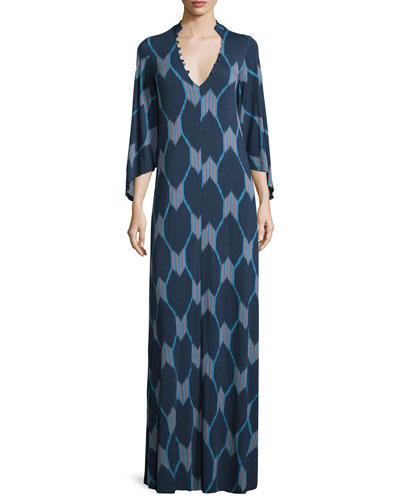 Rosaleen V-Neck Java-Print Column Maxi Dress