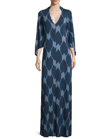 Rachel Pally Rosaleen V-Neck Java-Print Column Maxi Dress
