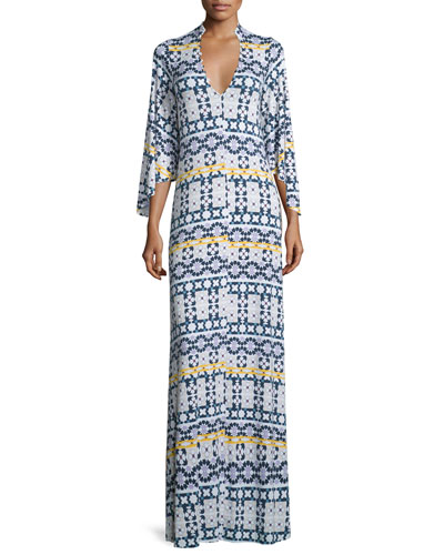 Rosaleen V-Neck Morocco-Print Column Dress, Plus Size