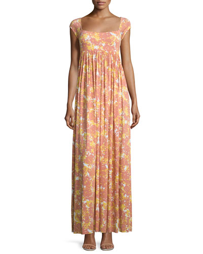 Isa Cap-Sleeve Printed Long Dress, Plus Size