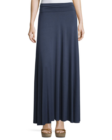 Rachel Pally Long Full Stretch-Jersey Skirt, Eclipse