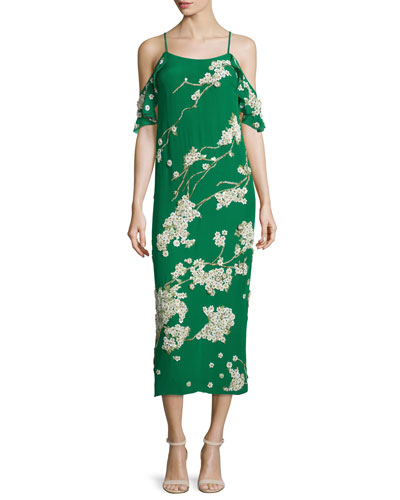 Sleeveless Cold-Shoulder Floral Midi Cocktail Dress