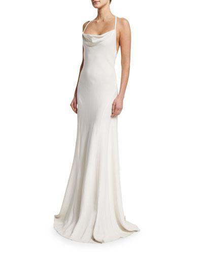 Sleeveless Cowl-Neck Flower-Back Column Gown